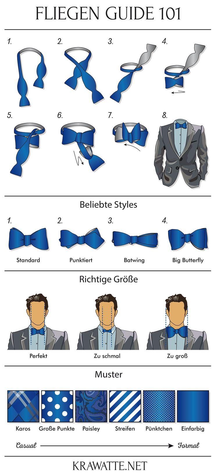Unser Fliegen Guide 101 für die perfekte Schleife. Mehr Infos auf unserem Blog: https://www.krawatte.net/Herrenmode-Blog/fliege-zum-anzug-tragen-101-guide/