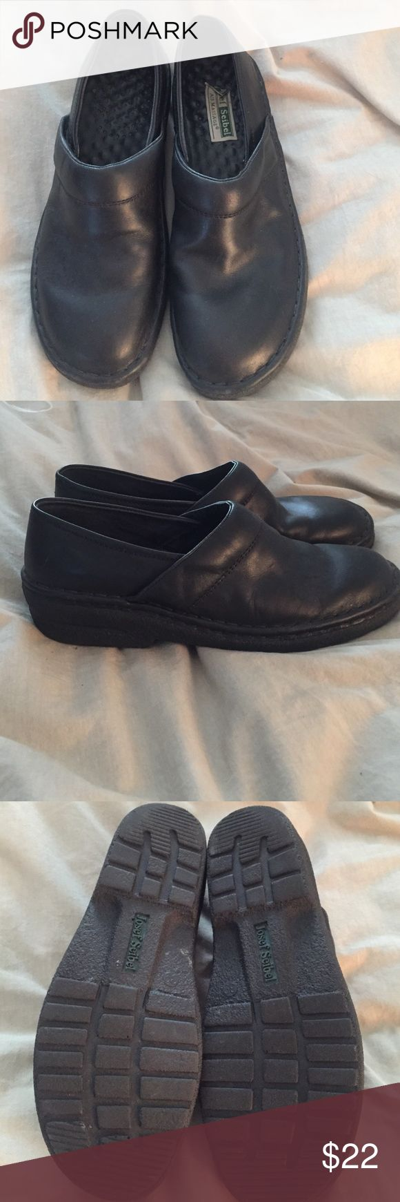 Josef Seibel Black Slip-ons Comfort level!!  These versatile black slip on shoes will treat your feet right. Gently worn-signs of previous wear-minor wear on soles, brand label peeled back (shown) Josef Seibel Shoes Flats & Loafers