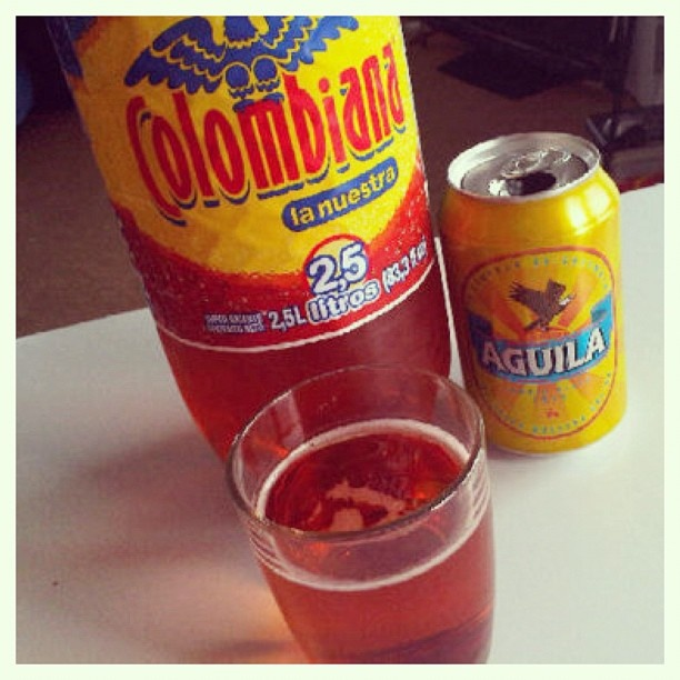 Refajo one of Colombias mos famous drinks.  It's a combination of Colombianan soft drink and beer.