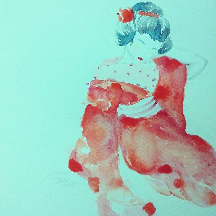 #geisha #watercolor #acuarela #drawing #pasion