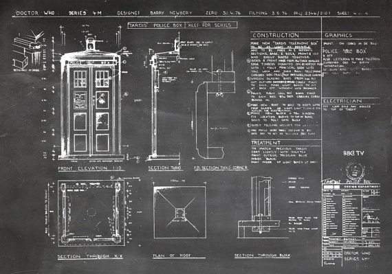 This beautiful print artwork is of The TARDIS from the Dr Who television series. This blueprint is from the 1976 season. Item #00101 This listing is