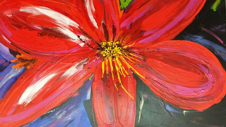 Artist: Katie Volter  'Red Lily' Mixed media 76 x 54cm. Allsorts exhibition 19 March - 12 April 2015, Strathnairn Arts