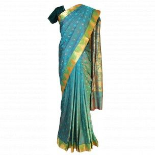 Sari indien vert et doré en soie indienne en vente sur http://www.merabarata.fr/saris-indiens-en-soie/813-sari-indien-merveilles-de-l-inde.html