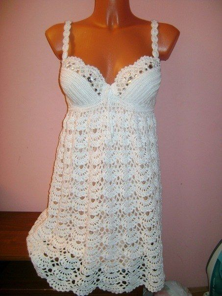 Crochet white dress for brides, just add to the skirt for a long dress ♥LCW♥ with diagrams