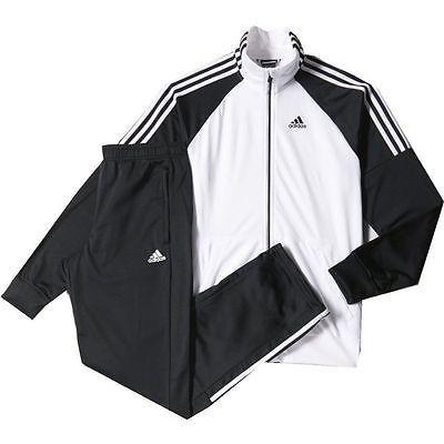 Nuevas Adidas para hombre Gimnasio Riberio Chándal Pantalones Traje Chaqueta de pista Blanco Con Negro L