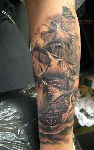 Pirate ship @ stevepolukis...this would be a great sleeve idea!