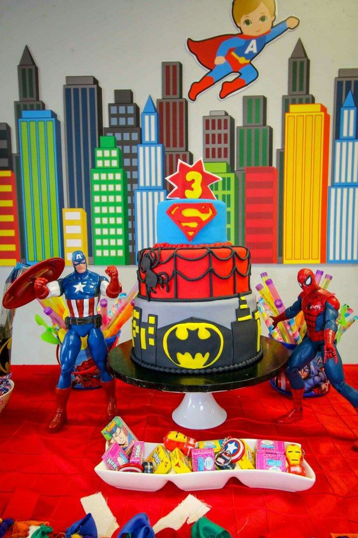 My baby Armando Jorge's Superhero #3 Birthday Party. Avengers + Justice League. Cake, decoration, candy bar, cookies, goodie bags, comic, favors and fun.