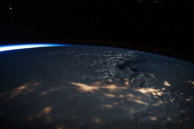 The massive snowstorm that blanketed the East Coast from Washington, D.C., to New York City is seen from the International Space Station, on Jan. 23, 2016.