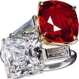 Platinum, diamond, ruby ring, Cartier ca. 1950.