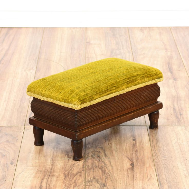 Citron Yellow Velvet Storage Footstool