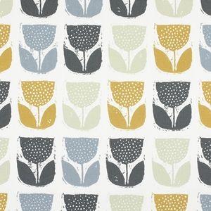 Poppy Pod Saffron 100% Cotton 137cm 32cm Curtaining
