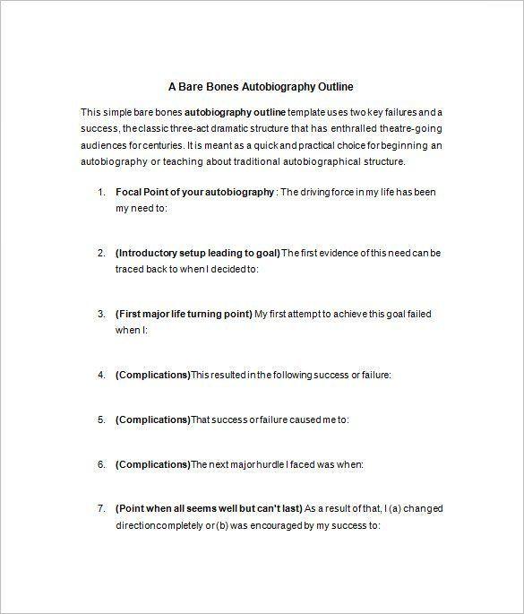Autobiography Templates Autobiography Template Essay Format