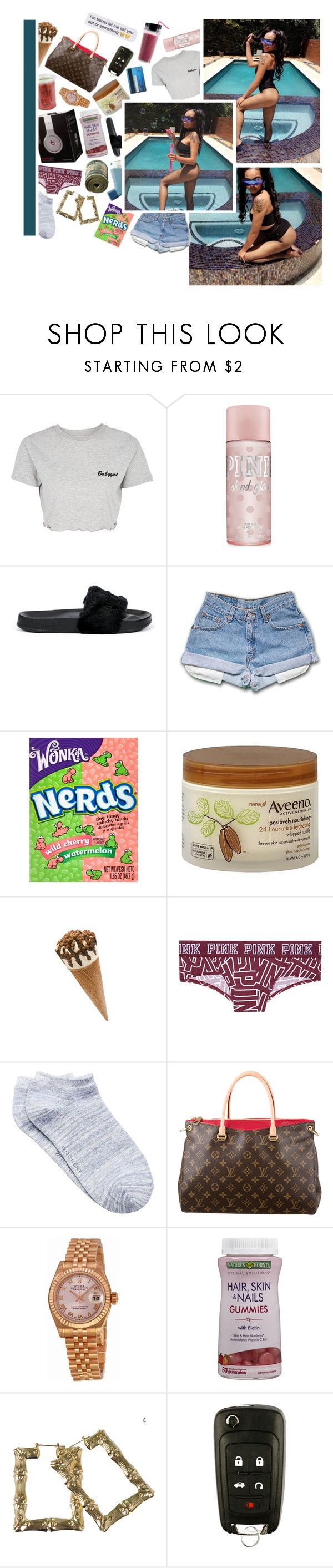 """""""baby mama text me at 5:18 , bad b'itch text me at 6:16 , bout seven am she was licking me , why she send these kissy face emojis to my phone , she digging hard on a n'igga cause im going strong"""" by krabbybaddies ❤ liked on Polyvore featuring Topshop, Puma, River Island, Aveeno, Beats by Dr. Dre, Witchery, Louis Vuitton and Rolex"""