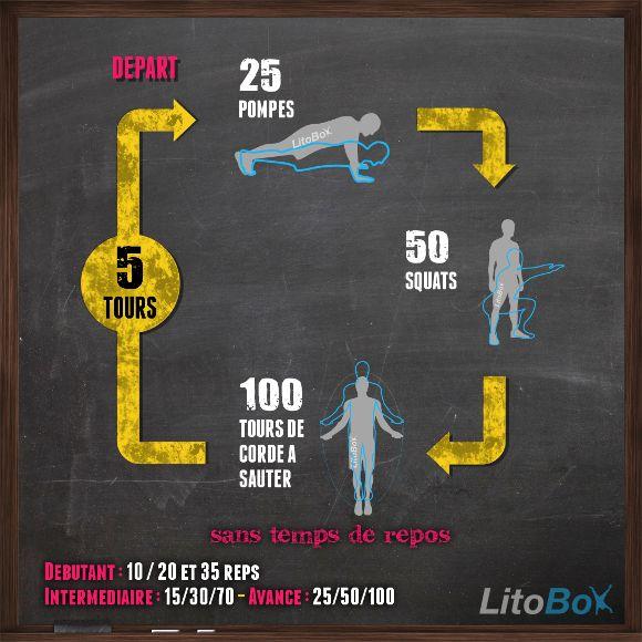 Entraînement de type CrossFit poids de corps avec pompes, squats et corde à sauter http://www.litobox.com/wod-10-03-2014