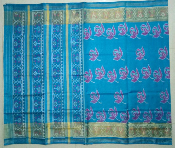 Real FANCY Patola Saree ROSE Design SKY BLUE Color Pure Silk With Handwoven And Handicraft Patola Saree,  Material.         - 100% Pure Silk Design             -FULL SAREES ROSE DESIGN  Size.                 -5.5 mtr.  Blouse color   -SKY BLUE Wash.               -Only Dry Clean