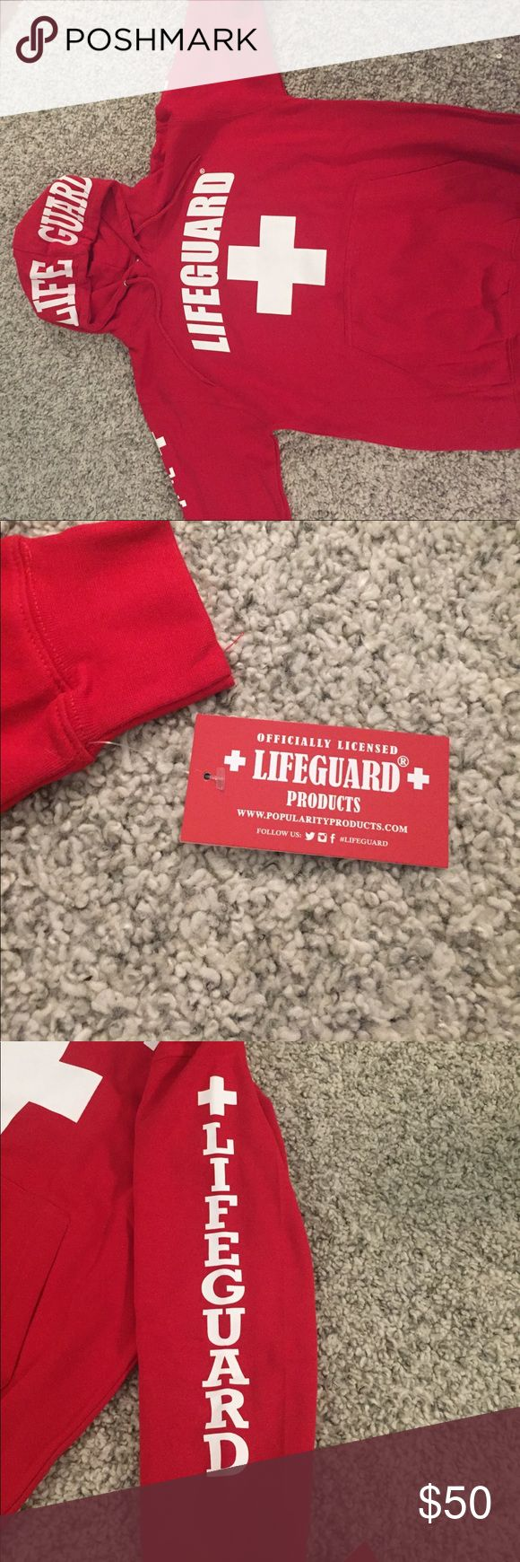 Red Lifeguard Hoodie from Los Angles Very comfortable and perfect for any occasion and cold weather. Has fuzz inside that keeps you very warm! Worn a couple times, still like new Jackets & Coats