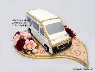 """Автомобиль из конфет """"Маршрутное такси FIAT""""."""