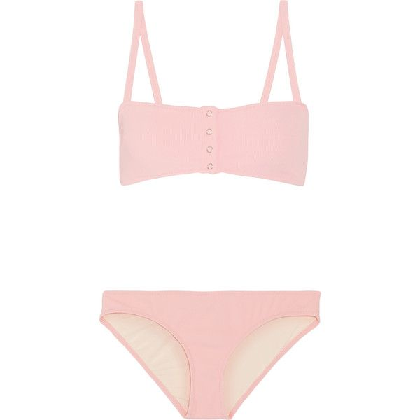 Solid and Striped+ Staud Alice Ribbed Bikini ($170) ❤ liked on Polyvore featuring swimwear, bikinis, baby pink, striped swimwear, bikini two piece, stripe bikini, bikini swim wear and bikini swimwear