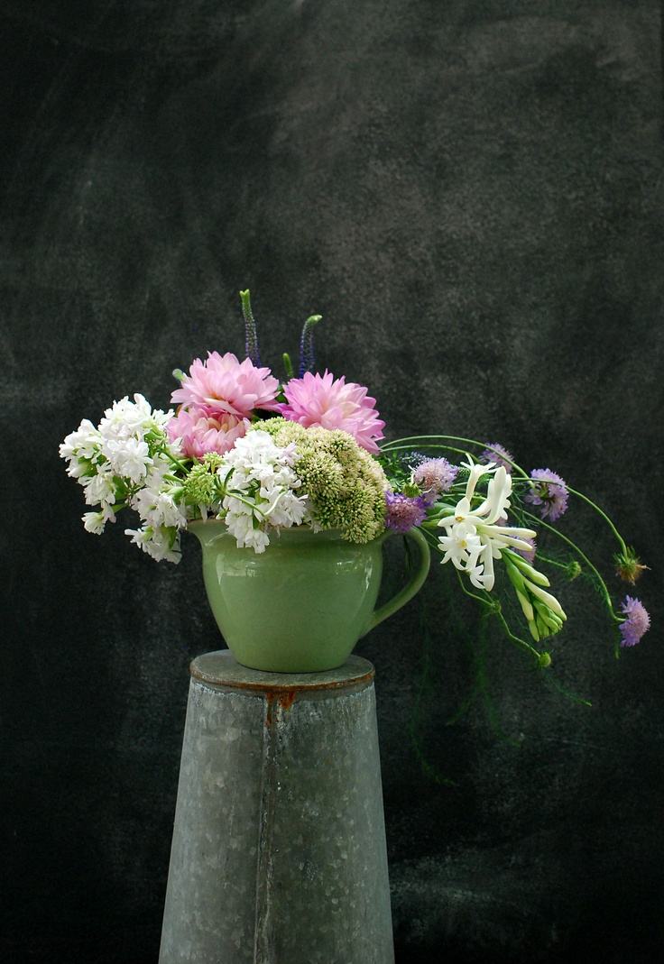 Cotton candy colored Dahlias, veronica, tube rose, scabiosa and sedum make a lovely late summer bouquet!: Cotton Candy, Colored Dahlias, Late Summer, Victory Blooms, Full Bloom, Flower Boquets