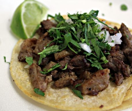 I can't believe I don't already have a pin for this! Authentic Mexican Carne Asada Tacos, or Mexican Street Tacos. Corn tortillas, flank or skirt steak, white onion, cilantro, garlic, cumin, lime juice, and salsa or pico de gallo. Jalepeños are optional.