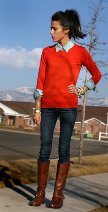 Cute fall look: Red Sweaters, Chambray Buttons, Style, Shirts, Clothing, Orange Sweaters, Fall Looks, Fall Outfits, Boots