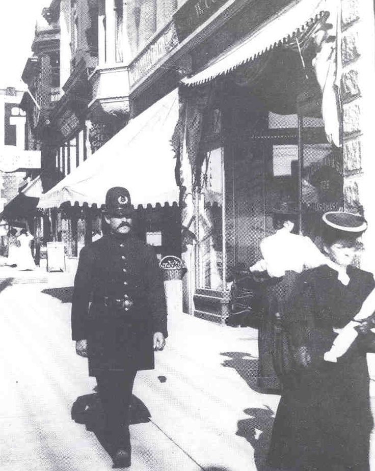 Vancouver Police Beat cop at Robson and Granville in the 1900s.