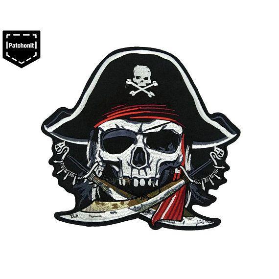 Pirate Flag w//Skull /& Crossbones Small Biker Iron On Applique