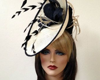 714dac9114ad1 Fascinator hat. Del Mar hat. Royal Ascot hat. Black and beige fascinator  for the races