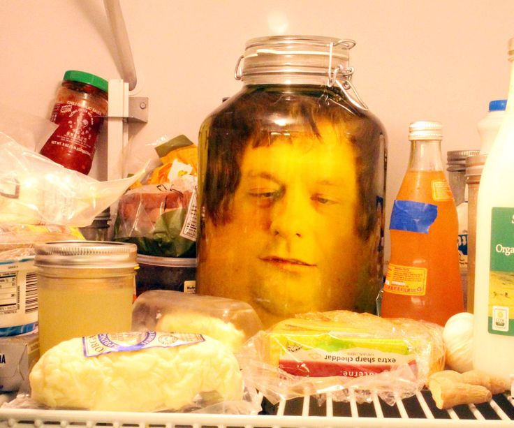 Hungry? Scare those fridge-bound famished food foragers with a head in a jar! Using a photo editor, two pictures are blended together to create flat image of a head, which ...