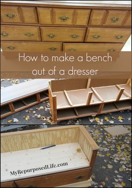 Cheap thrift store dresser repurposed into a useful kid's bench (prob not that cheap)