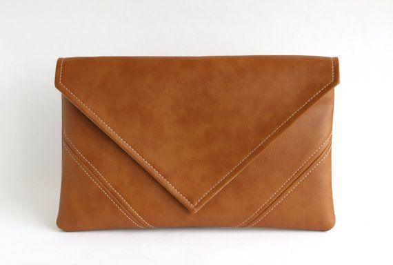 Brown Clutch Bag Casual Clutch Purse Vegan Leather Clutch Gift