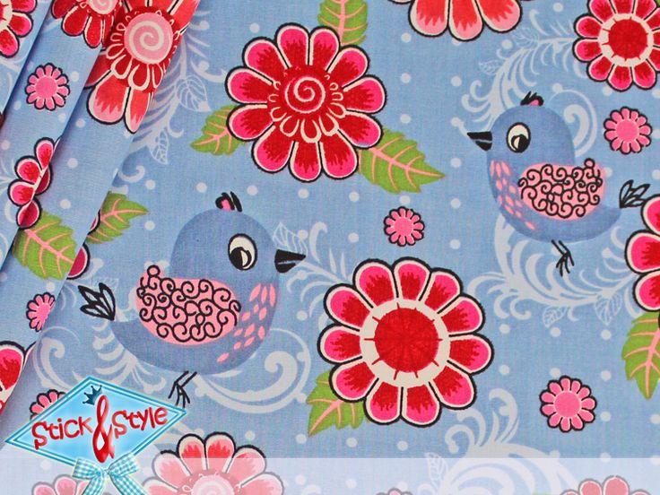 Stenzo Stoff Chirpy Blume - grau-blau von Stick and Style auf DaWanda.com