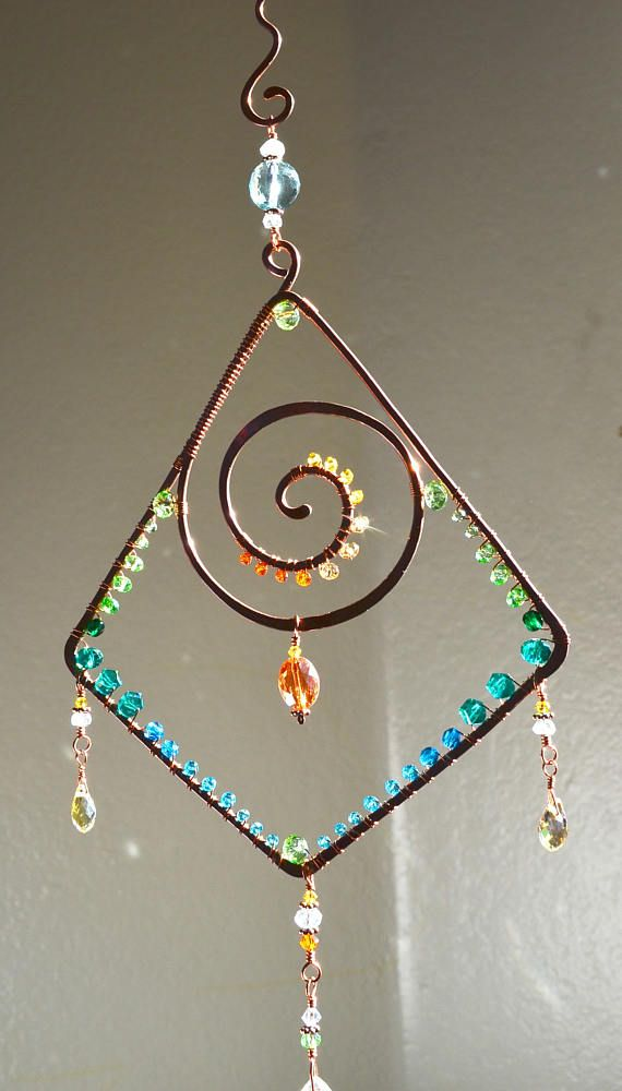 Sparkly Geometric Spiral suncatcher ombre gemstone