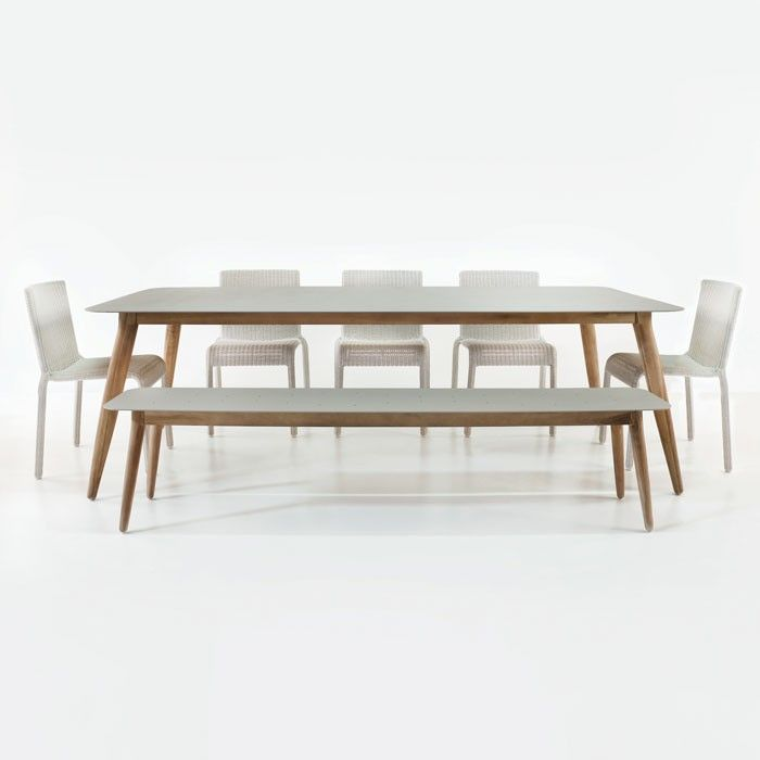 Edition Table with Zambezi Chairs and Bench Outdoor Dining Set