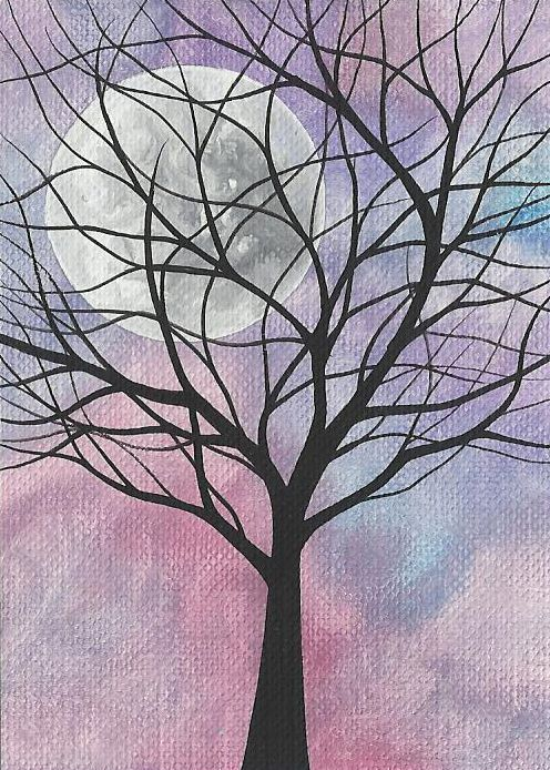 ACEO Original Painting - Tree with Full Moon. One Cent, Penny Art  #Miniature