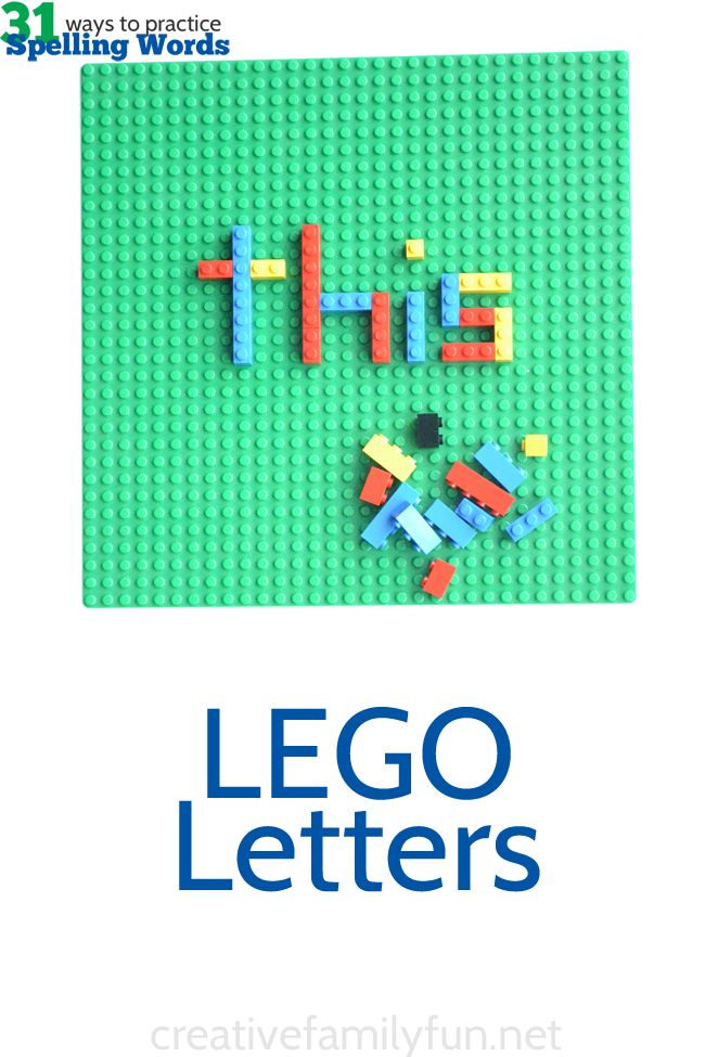 Practice spelling words or sight words by building them out of LEGOs. A great hands-on learning activity for kids.