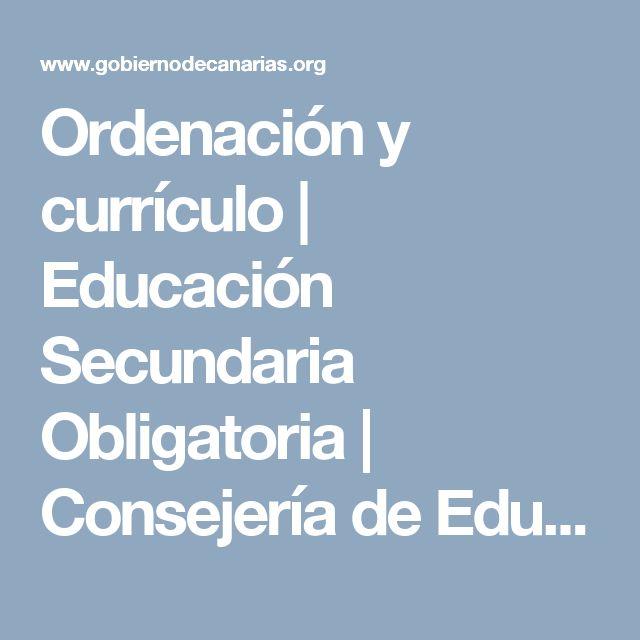 Ordenación y currículo | Educación Secundaria Obligatoria | Consejería de Educación y Universidades | Gobierno de Canarias