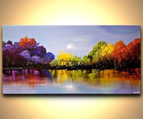 Paysage coloré des arbres fleurissant peinture texturée avec couteau à Palette…