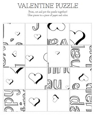 Print, color, and cut – and then assemble to read the secret message! | Valentine's Printables - Parenting.com