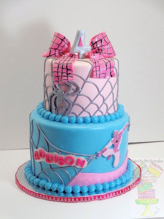 Spider-man / Spider- girl cake Pinned for Kidfolio - the app for parents - kidfol.io