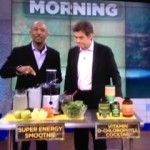 Dr Oz: Montel Williams Super Energy Smoothie--Ingredients  Makes several 16 oz. servings     2 pints cut up pineapple  2 pints cut up watermelon  2 quarts coconut water  1 bag baby spinach  1 bag frozen blueberries  2 green apples or 2 bananas     Directions  Blend all of the ingredients together in a juicer, pour into 16 oz. servings. You can store or freeze extra smoothies to drink later. Enjoy!