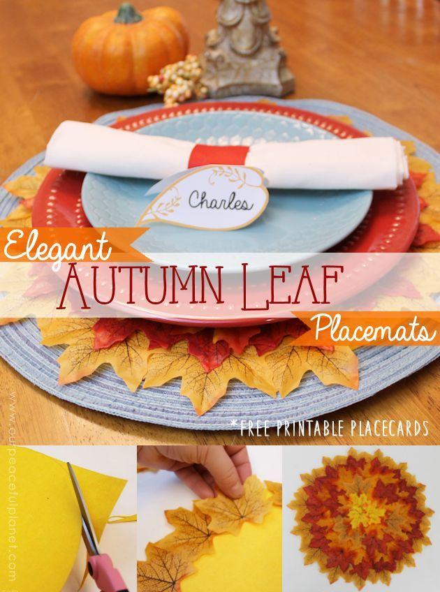 How To Make Quick Elegant Leafy Autumn Placemats Fall Placemats Placemats Easy Fall Wreaths