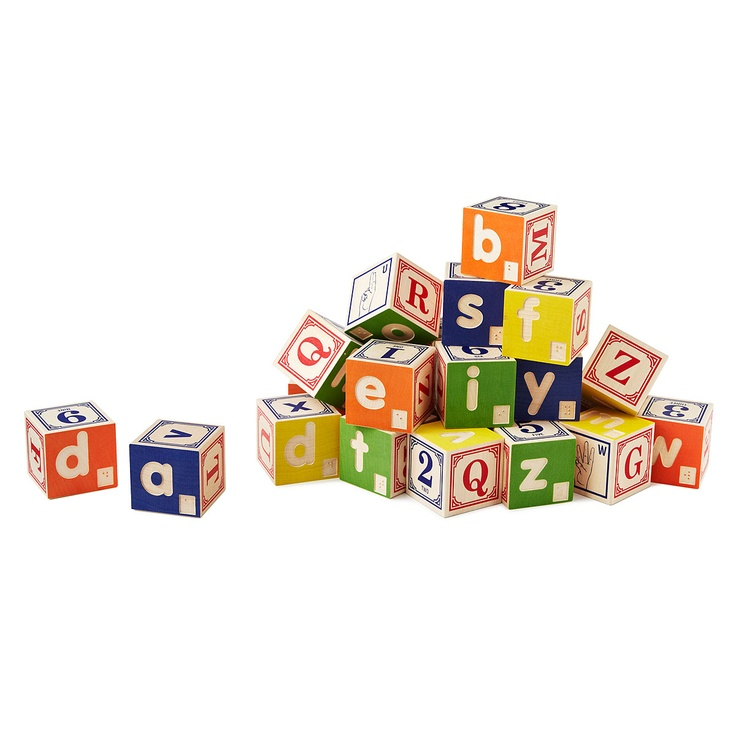 Braille & Sign Language Blocks help little ones learn the alphabet in English, Braille, & American Sign Language.