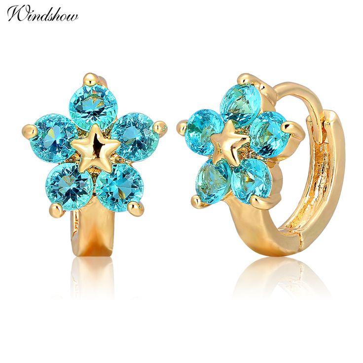 Vàng Màu Năm Tròn Màu Xanh Crystal Flower Vòng Tròn Loops Nhỏ Huggie Hoop Earrings Cho Phụ Nữ Trẻ Em Cô Gái Bé Kids Đồ Trang Sức