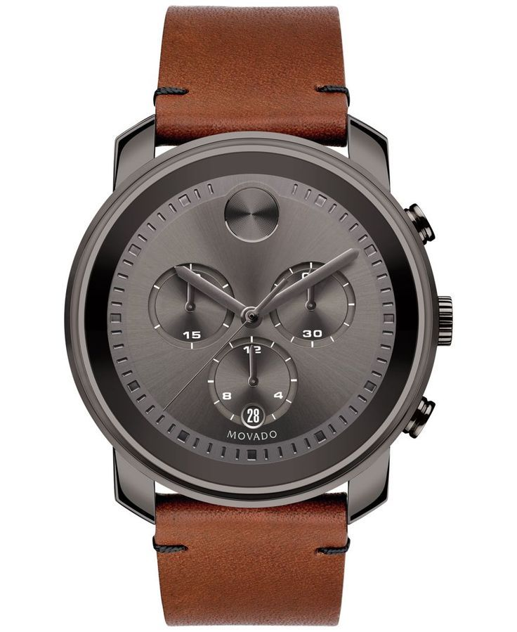 Rustic color details Movado's Bold collection watch in leather and smoky steel. | Rustic brown leather strap with tack-stitch detail and gray ion-plated stainless steel buckle | Round gray ion-plated