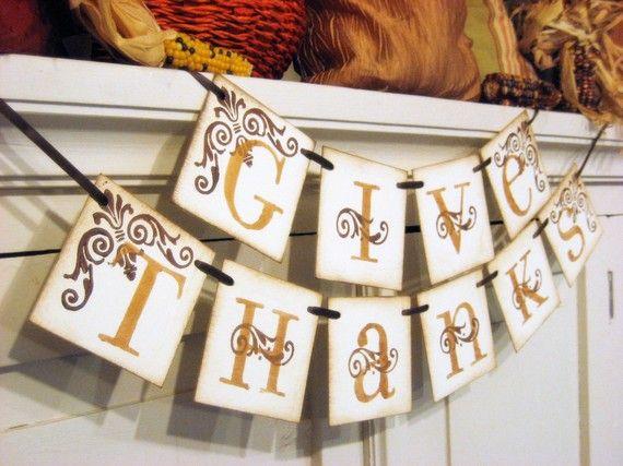 Thanksgiving mantle decor.: Mantles Decor, Thanksgiving Mantles, Give Thanks, Idea, Fall Decor, Thanksgiving Banners, Thanksgiving Decor, Fall Banners, Hostess Gifts