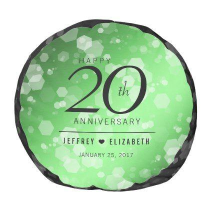 Elegant 20th Emerald Wedding Anniversary Pouf - anniversary gifts ideas diy celebration cyo unique