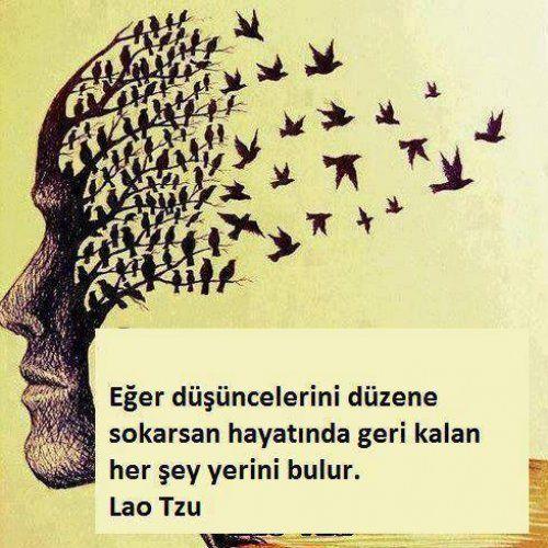 Eğer düşüncelerini düzene sokarsan hayatında geri kalan her şey yerini bulur. Lao Tzu