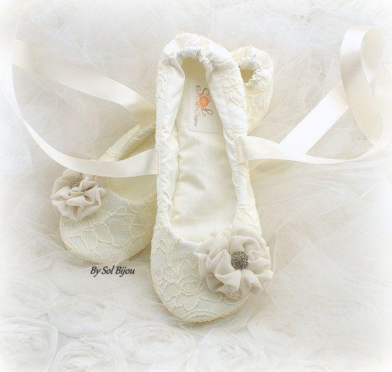 Wedding Flats Ballet Ivory Cream Gold Elegant
