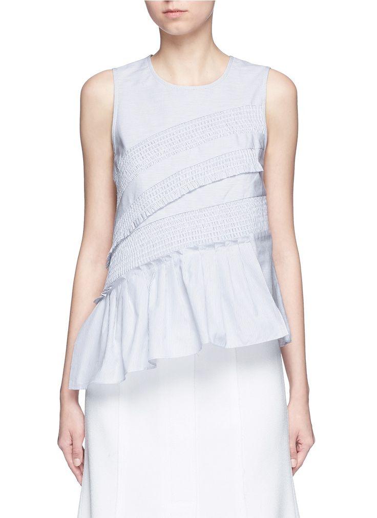 TIBI - Pinstripe poplin smocking sleeveless top | Multi-colour Sleeveless Tops | Women | Lane Crawford - Shop Designer Brands Online